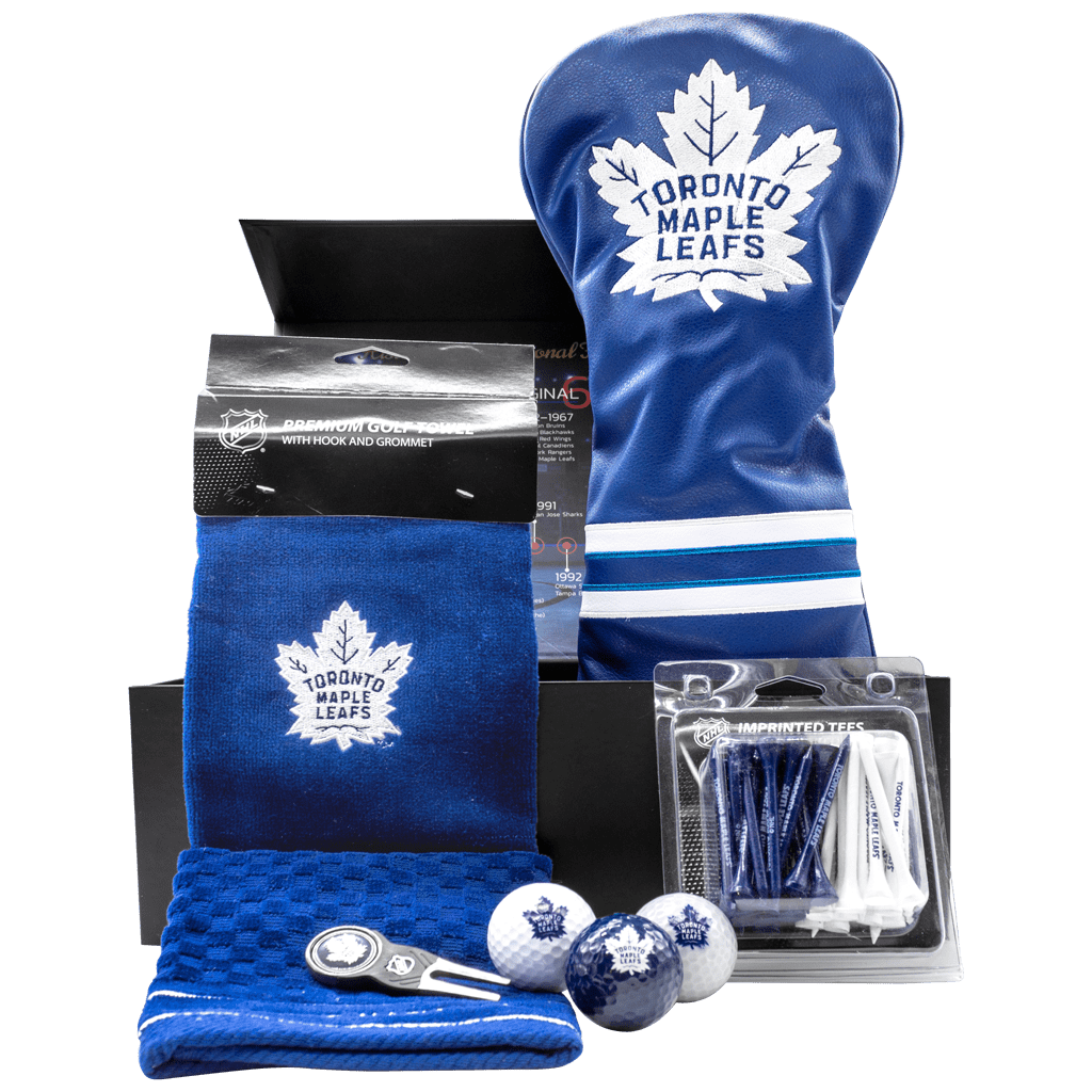 Maple Leafs Hole-in-One Golf Gift Box with Tee Pack, Divot Tool, Club Cover, towel, and golf balls