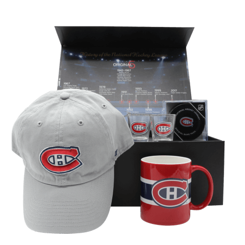 Montreal Canadiens Habs Gift Box with hat, puck, shot glasses, and mug