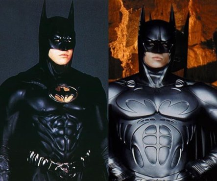 Batman Forever (1995) - When Joel Schumacher took over the directing duties, he increased the musculature on the suit in a move apparently inspired by Greek statues. To increase toy potential, Val Kilmer's Batman wore two suits in the movie.