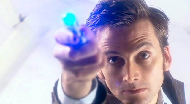 David Tennant as the Doctor with a sonic screwdriver