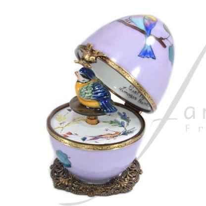 automata music box purple bird limoges