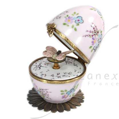 butterfly automata pink limoges music egg