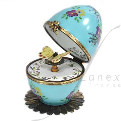 butterfly automata turquoise limoges music egg
