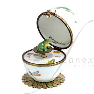 automata white frog music box limoges