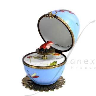 automata blue frog music box limoges