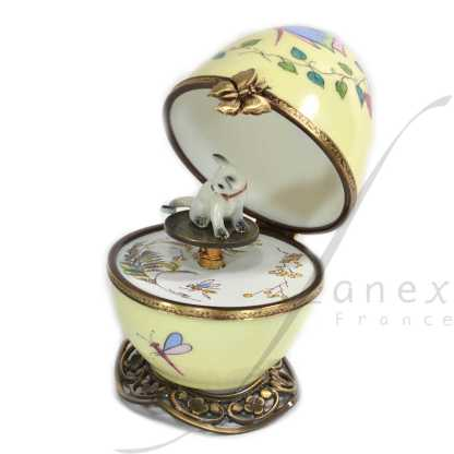 yellow automata siamese music box limoges