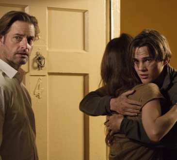 """COLONY -- """"Good Intentions"""" Episode 208 -- Pictured: (l-r) Josh Holloway as Will Bowman, Alex Neustaedter as Bram Bowman -- (Photo by: Isabella Vosmikova/USA Network)"""