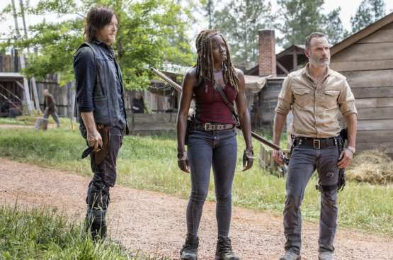 Norman Reedus as Daryl Dixon, Andrew Lincoln as Rick Grimes, Danai Gurira as Michonne - The Walking Dead _ Season 9, Episode 1 -