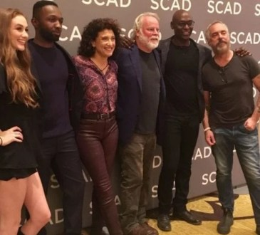 Madison LIntz, Jamie Hector, Amy Aquino, Michael Connelly, Lance Reddick and Titus Welliver attend SCAD aTVfest in Atlanta photo credit: Tracey Phillipps