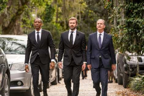 """COUNCIL OF DADS -- """"Pilot"""" Episode -- Pictured: (l-r) J. August Richards as Dr. Oliver Post, Clive Standen as Anthony Lavelle, Michael O'Neill as Larry Malvern --"""