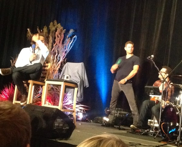Jensen cools off over the fan...