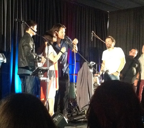 Misha and Lauren doing the drawing for Homeboy Industries
