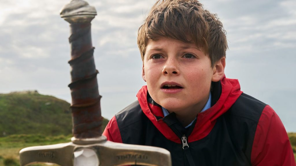 Louis George Serkis Young boy finding King Arthur's sword in The Kid Who Would Be King