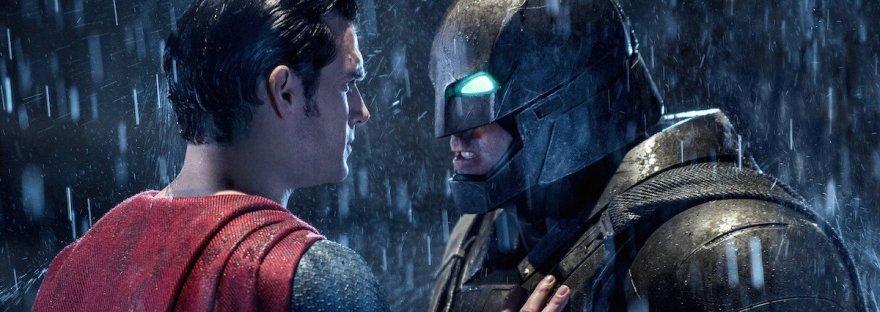 Superman pushing Batman in Batman v Superman
