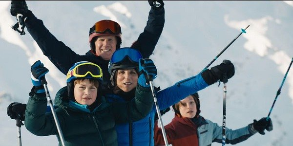 Julia Louis-Dreyfus and Will Ferrell skiing in Downhill