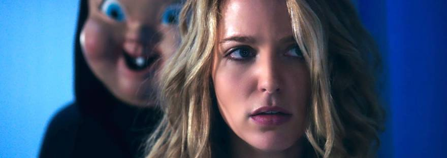 Tree (Jessica Rothe) being stalked by baby-faced villain in happy death day