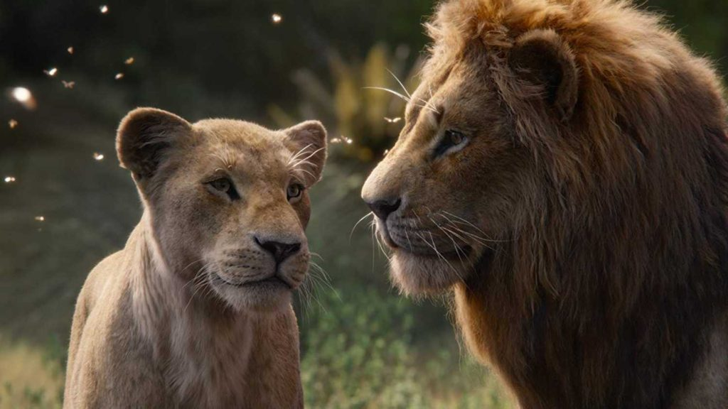 Nala and Simba falling in love in Disney's The Lion King