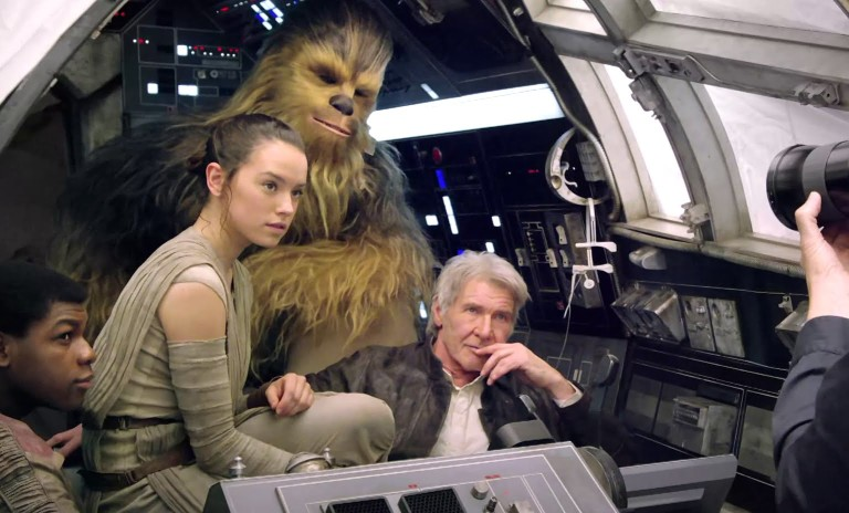 Rey, Chewbacca, Han Solo, and Finn in the Millennium Falcon in Star Wars The Force Awakens