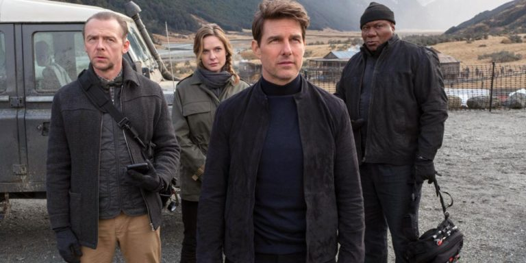 Mission Impossible: Fallout group picture with Tom Cruise, Rebecca Ferguson, Simon Pegg, and Ving Rames