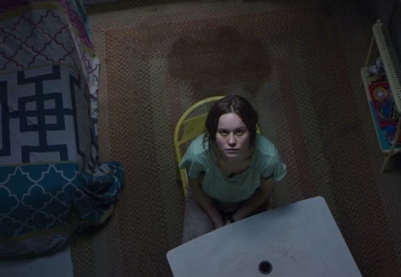 Brie Larson looking up at a skylight in Room