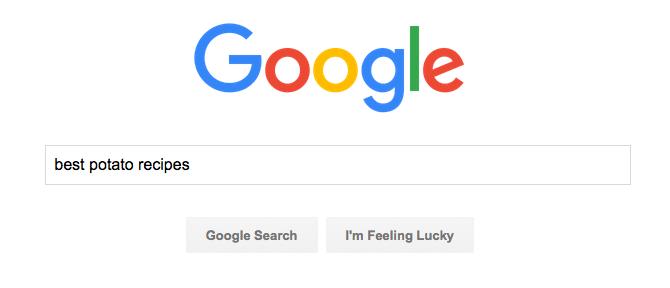 Google Search for Best Potato Recipes