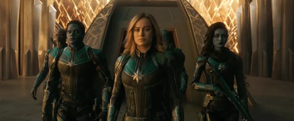 Brie Larson as Carol Danvers in her Kree uniform in Captain Marvel