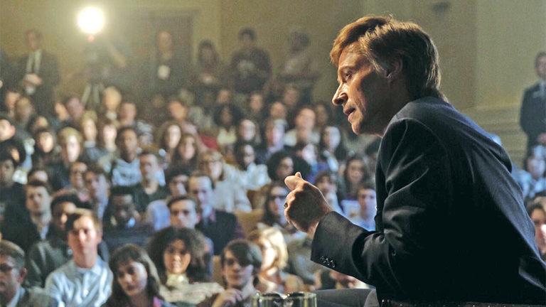 Hugh Jackman as Gary hart making a speech in The Frontrunner