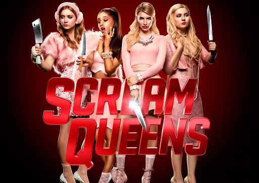 Scream Queens poster starring Emma Roberts, Ariana Grande, Abigail Breslin, and Billie Lorde
