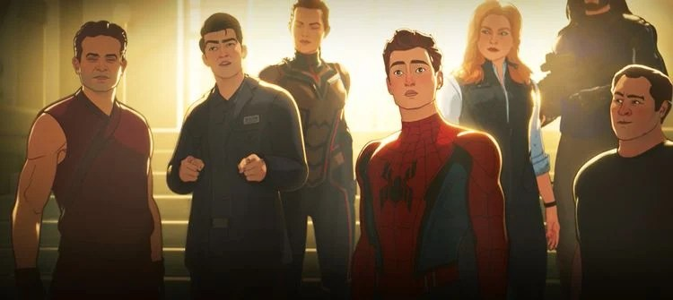 Spider Man and assorted Avengers stand in a group.