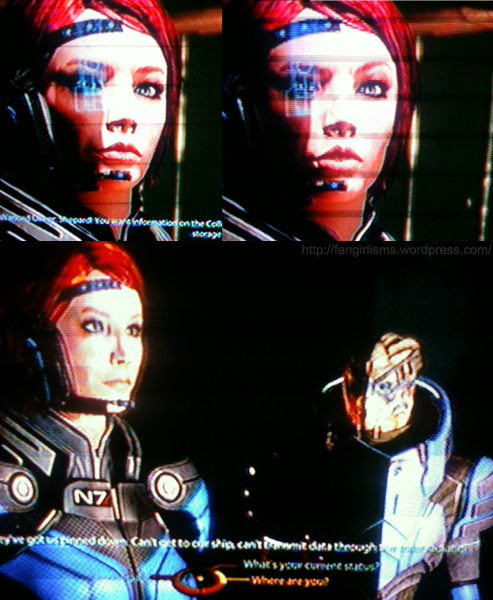 Female Commander Shepard and Garrus Vakarian wearing matching colors in Mass Effect 2
