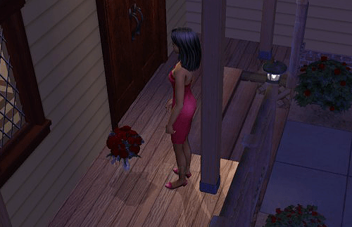 The Sims 2 screencap: Bella Goth leaving flowers on doorstep