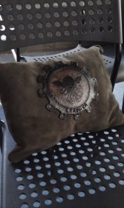 Cthulu Steampunk Leather Decor Pillow