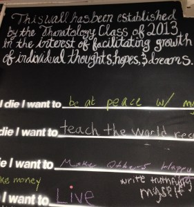 "A closer look at the ""Before I Die"" board"