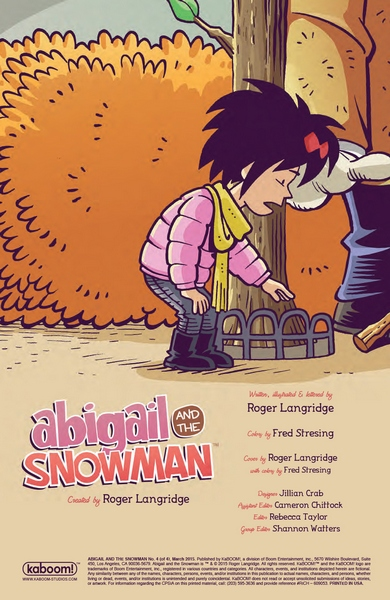 Abigail and the Snowman #4 credits page