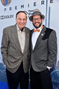 """ANAHEIM, CA - MAY 09: Composers Richard Sherman (L) and Michael Giacchino attend the world premiere of Disney's """"Tomorrowland"""" at Disneyland, Anaheim on May 9, 2015 in Anaheim, California. (Photo by Alberto E. Rodriguez/Getty Images for Disney) *** Local Caption *** Michael Giacchino;Richard Sherman"""