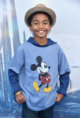 "ANAHEIM, CA - MAY 09: Actor Miles Brown attends the world premiere of Disney's ""Tomorrowland"" at Disneyland, Anaheim on May 9, 2015 in Anaheim, California. (Photo by Alberto E. Rodriguez/Getty Images for Disney) *** Local Caption *** Miles Brown"