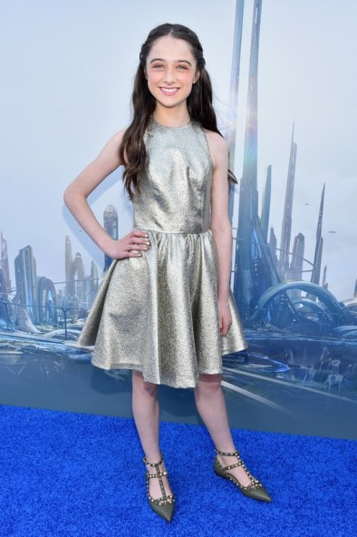 "ANAHEIM, CA - MAY 09: Actress Raffey Cassidy attends the world premiere of Disney's ""Tomorrowland"" at Disneyland, Anaheim on May 9, 2015 in Anaheim, California. (Photo by Alberto E. Rodriguez/Getty Images for Disney) *** Local Caption *** Raffey Cassidy"
