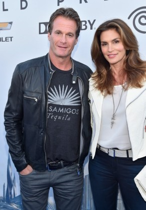 "ANAHEIM, CA - MAY 09: Randy Gerber (L) and model Cindy Crawford attend the world premiere of Disney's ""Tomorrowland"" at Disneyland, Anaheim on May 9, 2015 in Anaheim, California. (Photo by Alberto E. Rodriguez/Getty Images for Disney) *** Local Caption *** Randy Gerber;Cindy Crawford"