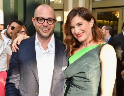"ANAHEIM, CA - MAY 09: Writer Damon Lindelof (L) and actress Kathryn Hahn attend the world premiere of Disney's ""Tomorrowland"" at Disneyland, Anaheim on May 9, 2015 in Anaheim, California. (Photo by Alberto E. Rodriguez/Getty Images for Disney) *** Local Caption *** Damon Lindelof;Kathryn Hahn"