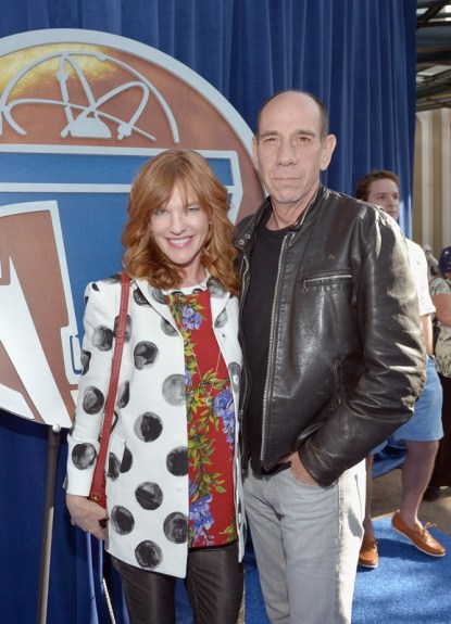 "ANAHEIM, CA - MAY 09: Producer Lori Weintraub (L) and actor Miguel Ferrer attend the world premiere of Disney's ""Tomorrowland"" at Disneyland, Anaheim on May 9, 2015 in Anaheim, California. (Photo by Charley Gallay/Getty Images for Disney) *** Local Caption *** Miguel Ferrer;Lori Weintraub"