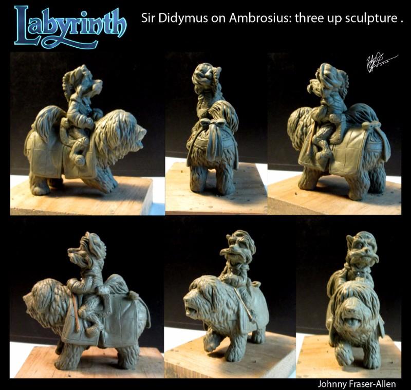Sir Didymus on Ambrosius thre up sculpture