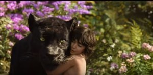 Mowgli hugs Bagheera in The Jungle Book
