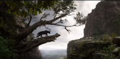Mowgli swings through the jungle