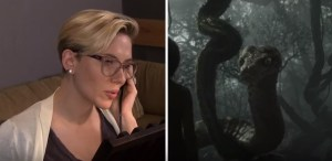 Scarlett Johansson as Kaa in voices of the jungle