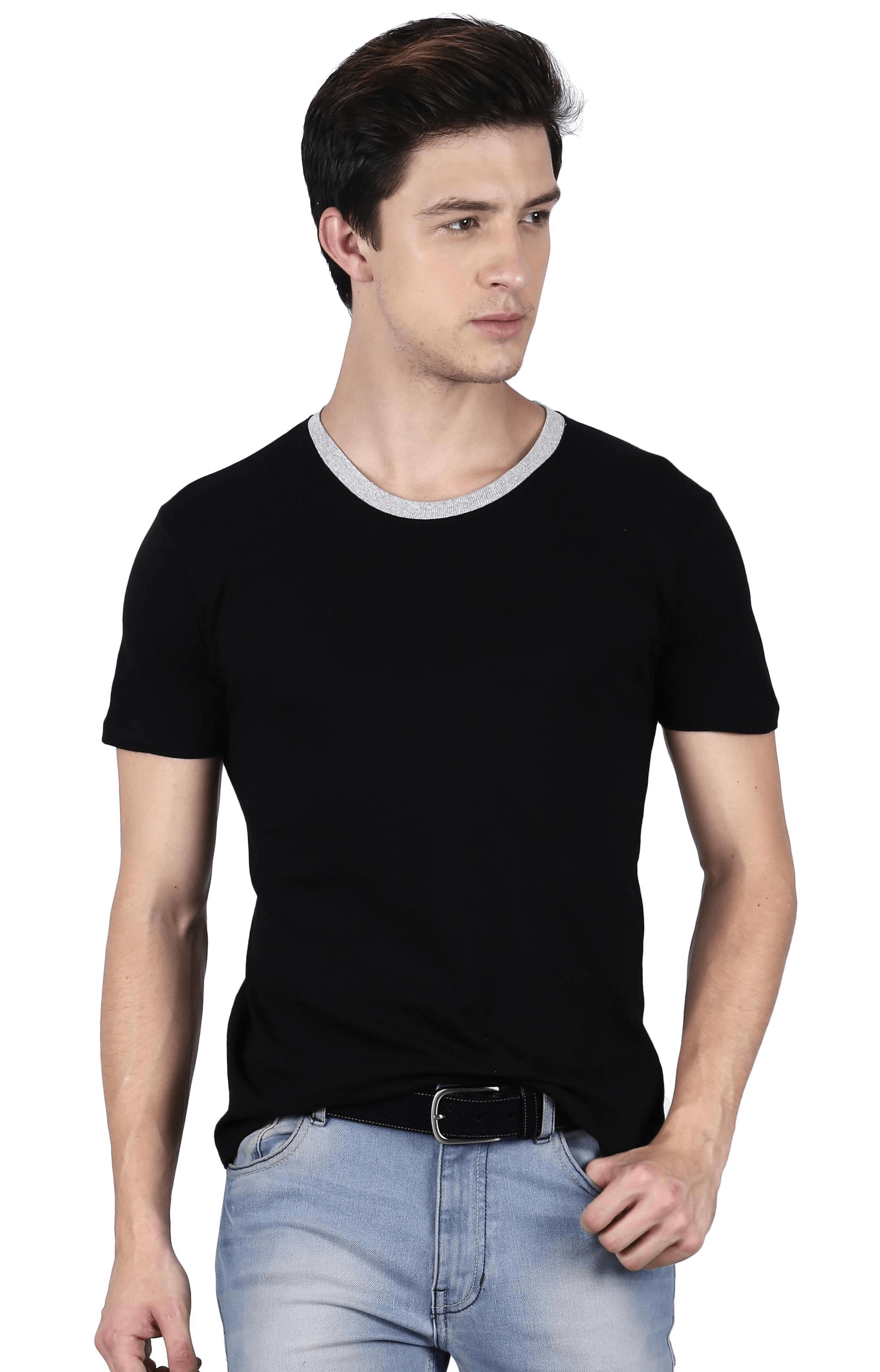621474bd7a1 Fanideaz Round Neck With White Rip Cotton Plain T Shirt for Men ...