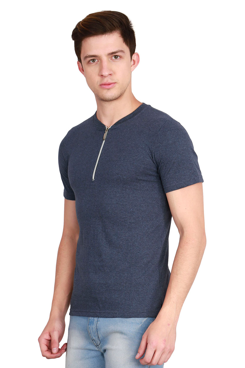 2f00b37ae7e Fanideaz Men s Cotton Zip Henley Premium T Shirt for Men Denim Blue ...