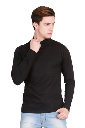d4b47968a20 Fanideaz Men s Cotton Full Sleeve Classic High Neck Black T Shirt ...