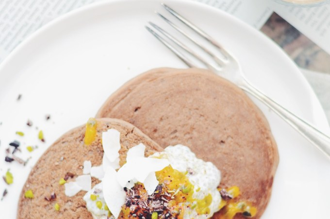 Back to real life – Carob choc crunch buckwheat pancakes
