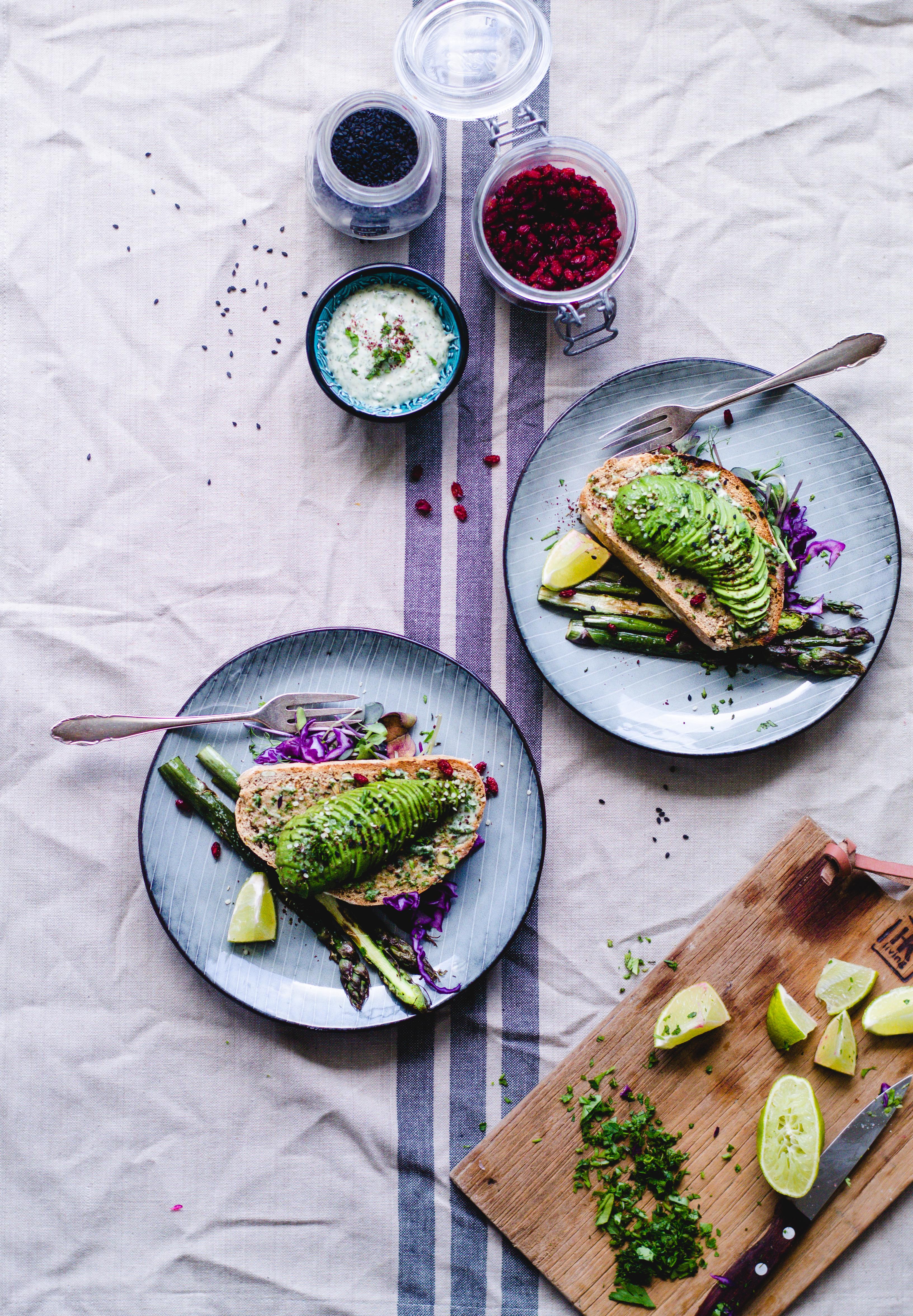 Tahini Avocado Toast with Garlic Asparagus