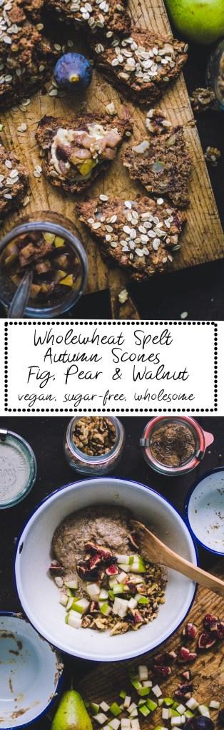 Wholewheat Spelt Autumn Scones / Fig, Pear & Walnut vegan, sugar-free, whole grain